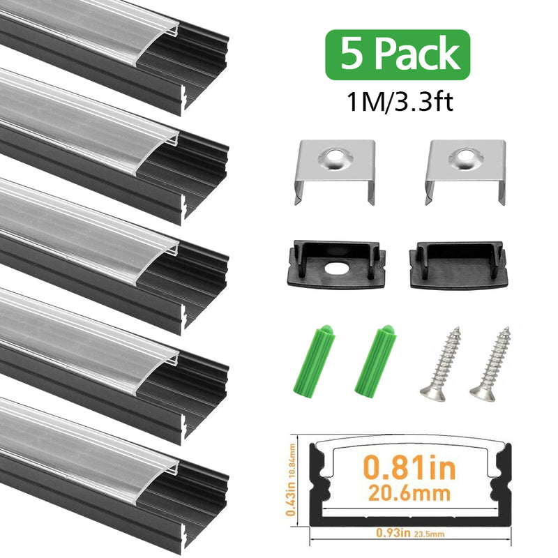 Black LED Aluminum Profile U04 10x23mm U-Shape LED Aluminum Channel System for LED Strips Installation