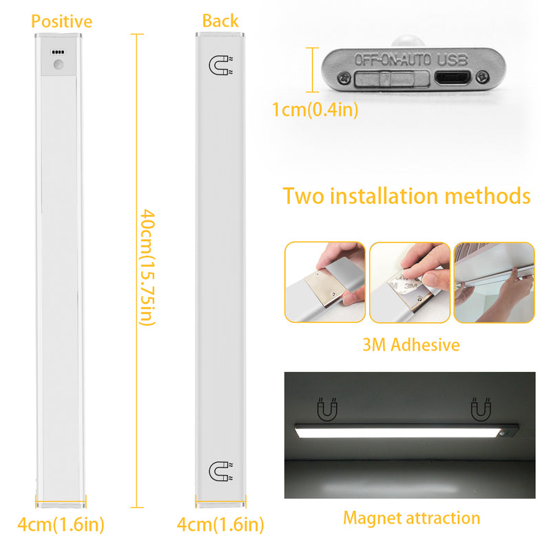 40cm (15.75'') Motion Sensor LED Under Cabinet Light, 1500mA Rechargeable Wireless Motion Nightlight Portable Magnetic Stick Up Night Light