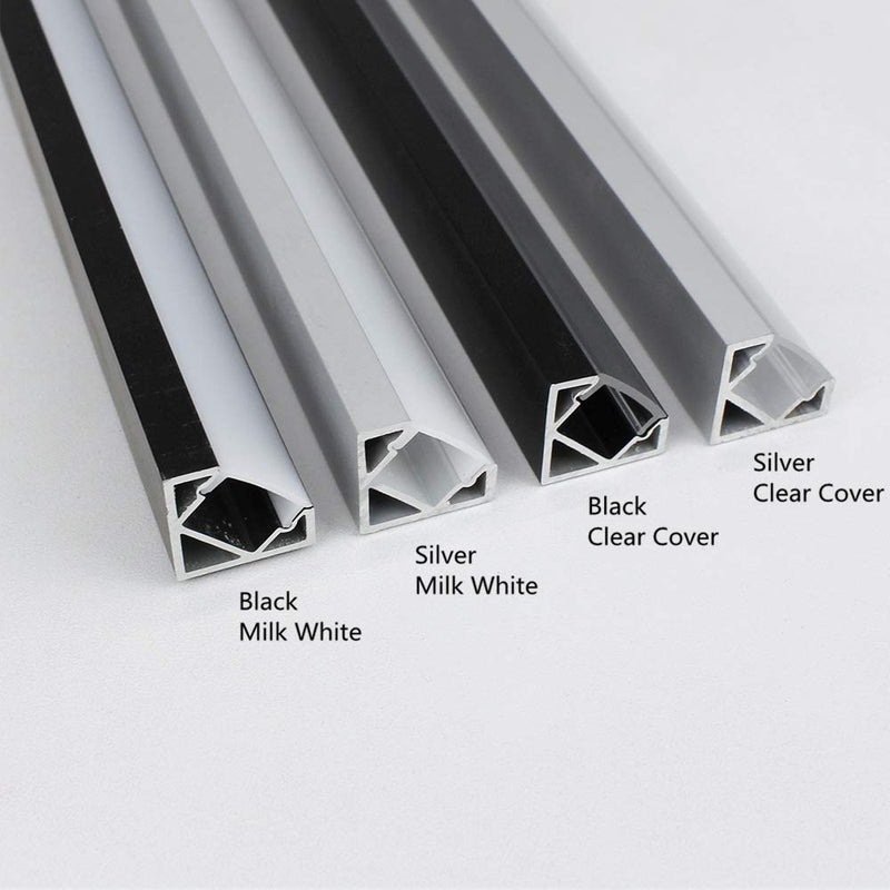 Silver Corner LED Aluminum Profile V02 16x16mm V-Shape Curved Cover Corner Mounting Aluminum Channel