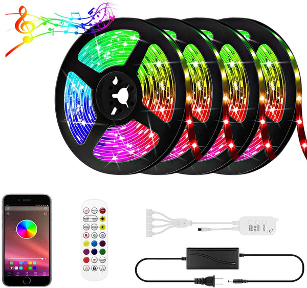 65.6Ft (4x 5M) SMD5050-150 Multicolor LED Light 600 LEDs Waterproof LED Strip Light 5050 RGB 12V w/ Power Supply & Controller