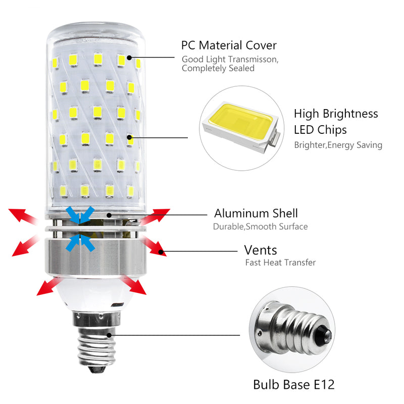 E12 16W LED Corn Bulbs, 1500LM Daylight White 6000K, CRI80+, 120W Incandescent Bulb Equivalent, E12 Base Non-Dimmable LED Lamp,Pack of 6