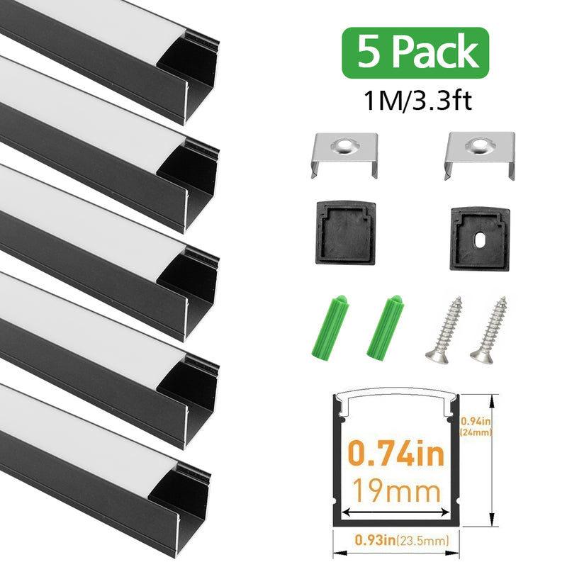 Black Aluminum Channel U06 24x24mm U Shape LED Aluminum Profile Kit for LED Strip Installation