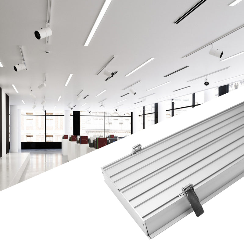 2 Pack H20050 Big Aluminum Extrusion Channel for Flush Mounting Linear Office Lighting System