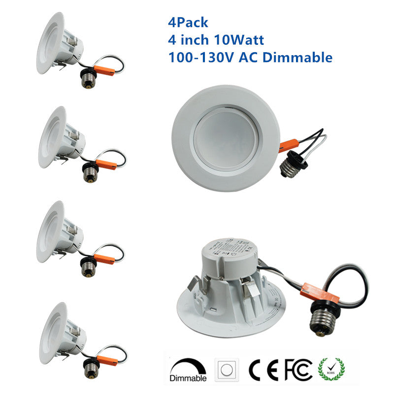 4Pack US Version 4 inch 100-130V AC Dimmable LED Retrofit Downlight Pot Light for Can Fixtures 10W 900LM 90 Degree Beam Angle 75 Watt Equivalent