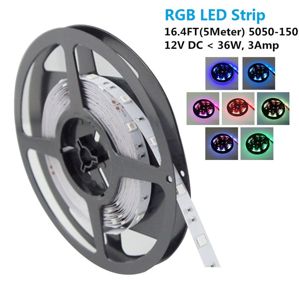 SMD5050-150 RGB Color Change LED Strips 30 LEDs Per Meter 10mm Wide Tri-Chip Flexible Tape