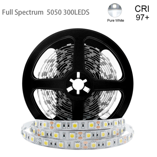 16.4Feet (5Meter)SMD5050 300LED 12VDC 60Watt True Color CRI95+ High Color Accuracy LED Flexible Strip Light that Produce Full Spectrum Natural Light