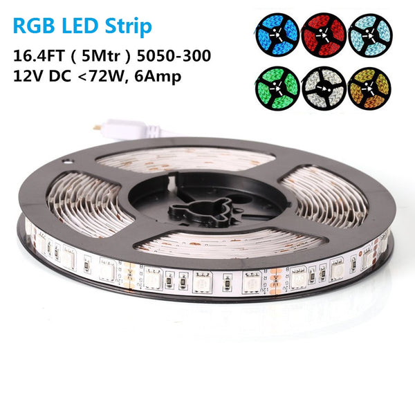SMD5050-300 RGB Color Changing High Density Tri-ChipFlexible LED Strips 60 LEDs Per Meter 10mm Width