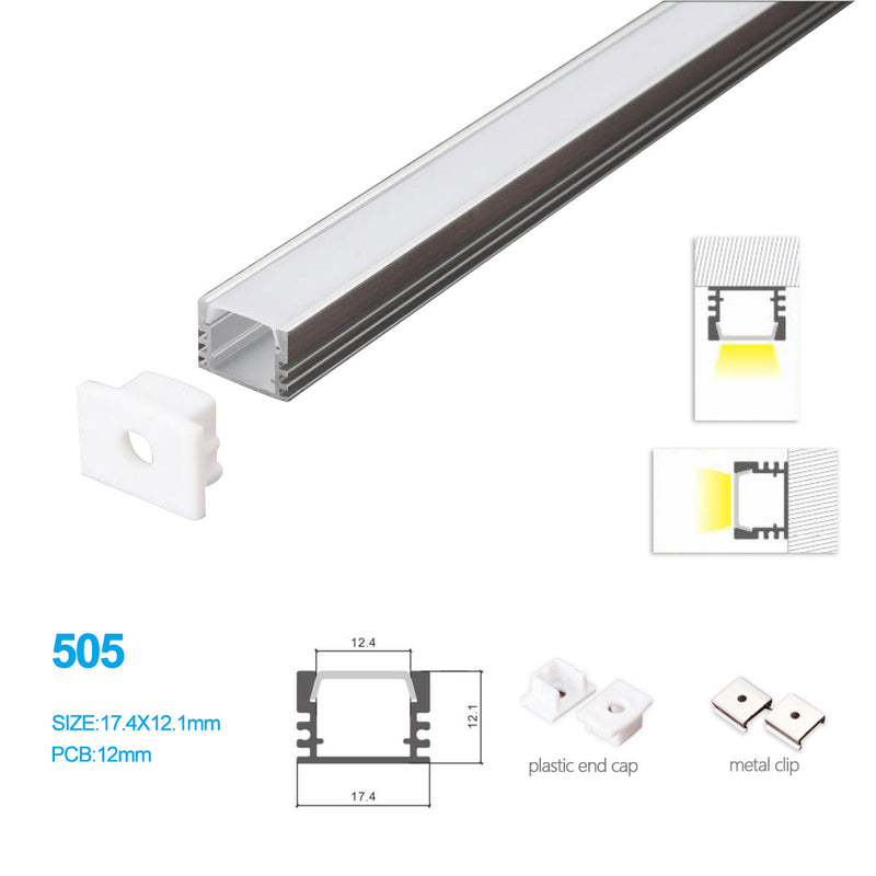 17.4MM*12.1MM LED Aluminum Channel Kit for LED Strips Mounting
