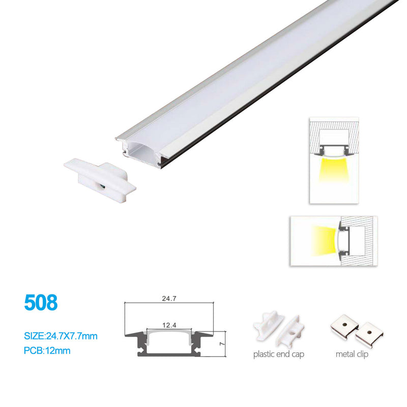 24.7*7 MM Ceiling/Wall Mounted LED Aluminum Profile w/ Vaulted Cover for LED Strip Lighting System