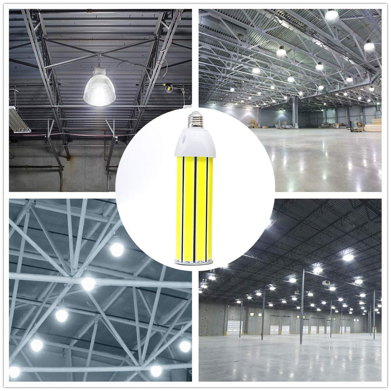 LED Corn Light Bulb 50W, Daylight White 5500K, 4500Lumens, E26/E27 Base, COB LED Chips (210Pcs), for Indoor Outdoor Garage Factory Warehouse