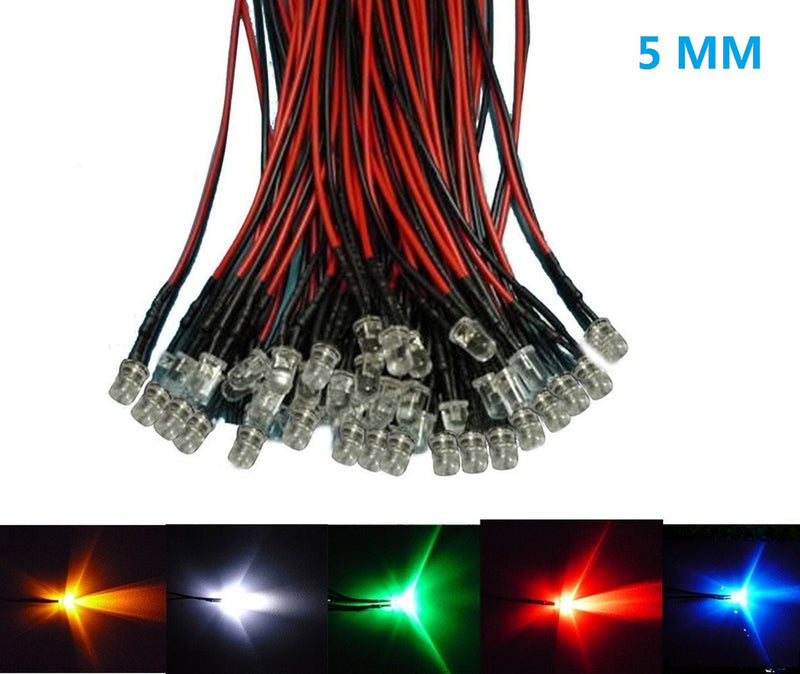 50pcs Pack 5mm LED Pre Wired light 3V/6V/12V/24V 20cm F5 Straw Hat Round Top Bulbs Light Lamp for DIY Car Boat Toys Party lighting Project