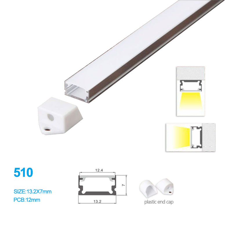 13.2*7 MM Ceiling/Wall Mounted LED Aluminum Profile with Flat Cover for LED Strip Lighting System