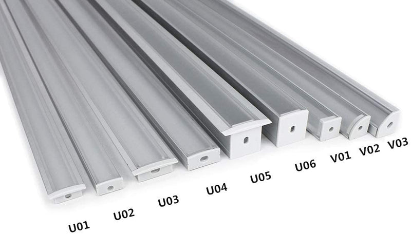 Silver U02 Profile 9x17mm U-Shape LED Aluminum Channel System for LED Strip Light Installations