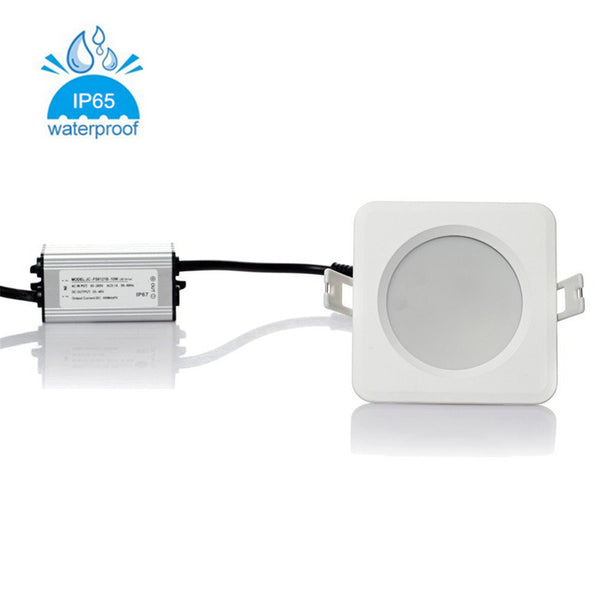 5W/7W/9W/12W/15W Waterproof IP65 Non-dimmable CRI>80 Square Shape Recessed LED Downlight Fixture Fit for Shower, Suana and Outdoor Lighting