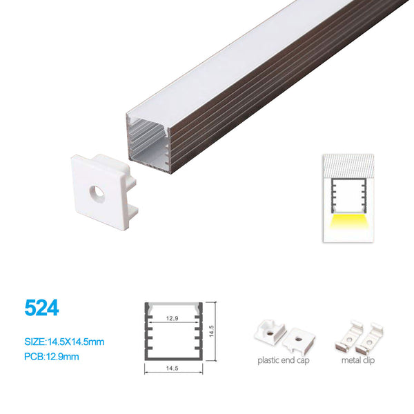 5/10/25/50 Pack 14.5MM*14.5MM Surface Mounted LED Aluminum Profile with Flat Cover for LED Rigid Strip Lighting System