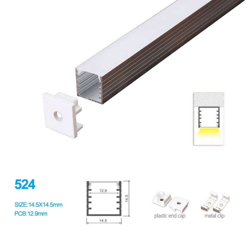 14.5*14.5MM Surface Mounted LED Aluminum Profile with Flat Cover for LED Strip Lighting System