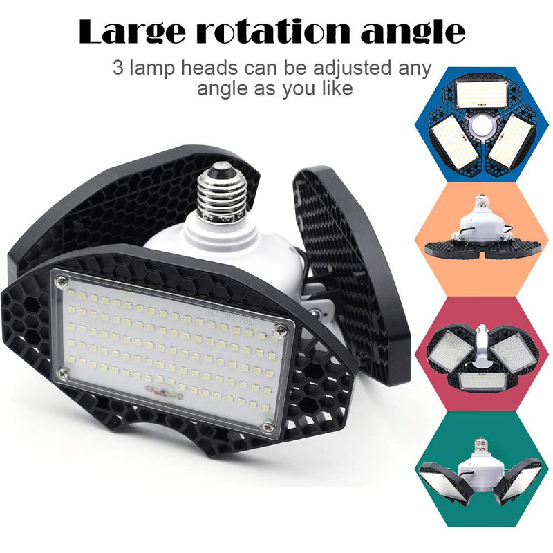 LED Garage Lights 55W Deformable LED Shop Light 7200LM Daylight White 400W Equivalent Work Light