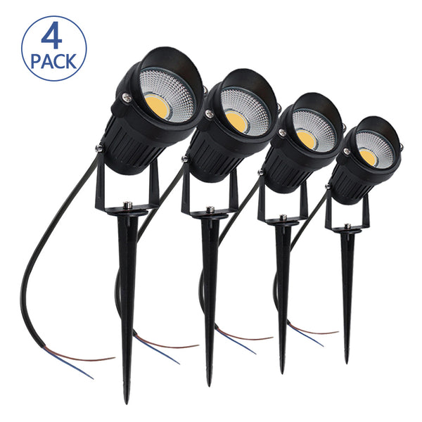 4 PACK of 5W Warm White Outdoor IP65 Ground Inserted LED Garden Light Bullet Head Black Finish