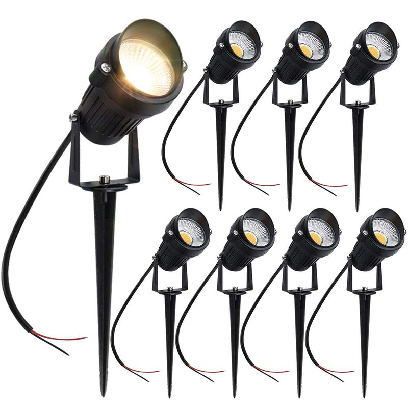 8 PACK of 5W Warm White Outdoor IP65 Ground Inserted LED Garden Light Bullet Head Black Finish