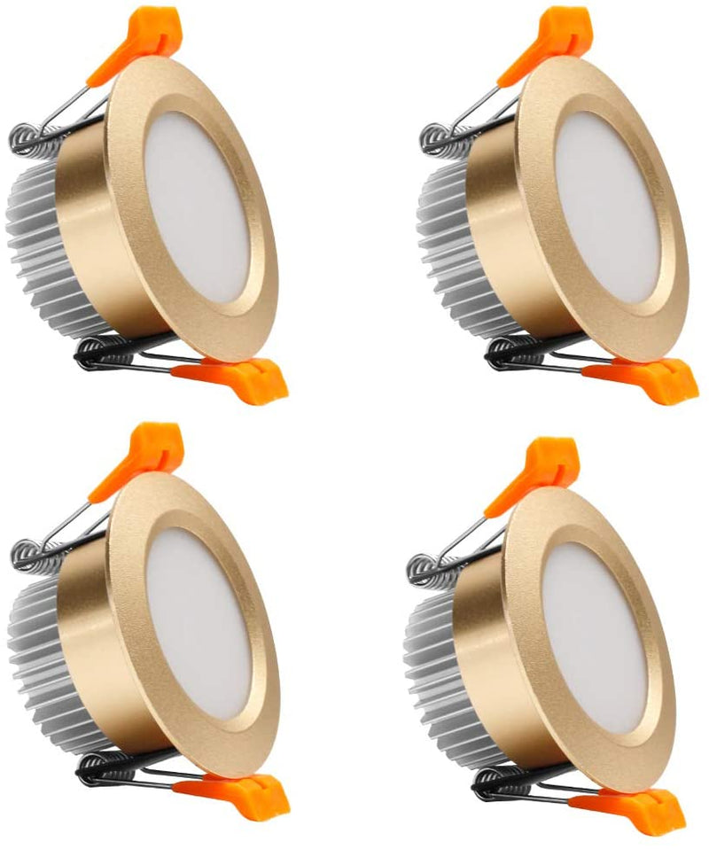 4 Pack 3 Inch Gold Trim Dimmable LED Downlight 5W(40W Halogen Equivalent) CRI80 LED Ceiling Light