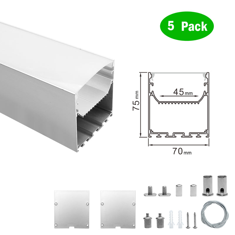 5 Pack H7075 Big Aluminum Extrusion Channel for Suspension Mounting Linear Office Lighting System