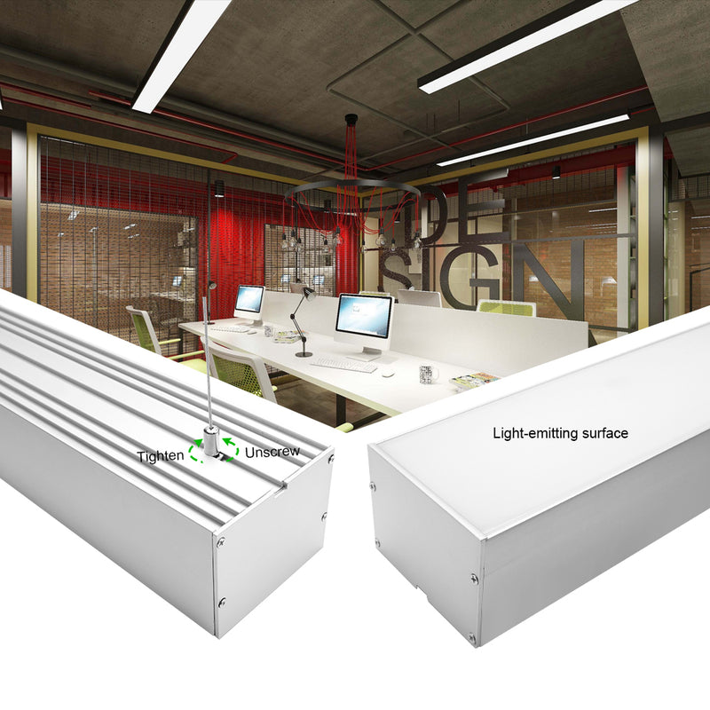 2 Pack H10075 Big Aluminum Extrusion Channel for Suspension Mounting Linear Office Lighting System