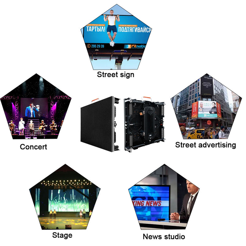 Tour Outdoor Rental LED Display 3.9/4.8/5.9 mm Pixel Pitch in 500x500mm Aluminum Cabinet