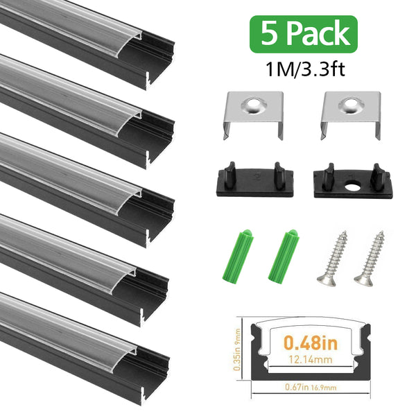 Black LED Profile U02 9x17mm U-Shap LED Aluminum Channel System