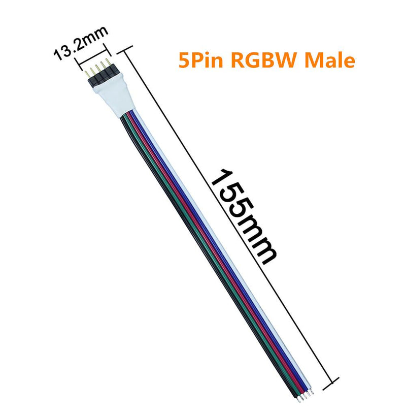 10pcs Pack (5Pair) 5pin RGBW/RGBWW LED Strip Connectors