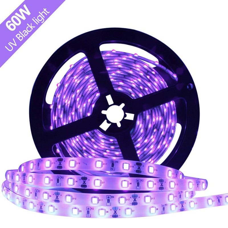 60W UV Black Light LED Strip, 16.4FT/5M 2835 300LEDs 395nm-405nm Waterproof IP65 Night Fishing Sterilization implicitly Party with 12V 5A PowerSupply