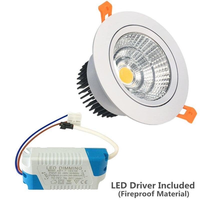 LED Downlight 16W Dimmable CRI80 COB Directional Recessed Ceiling Light Cut-out 4.5in (115mm) 60 Beam Angle 120W Halogen Bulbs Equivalent