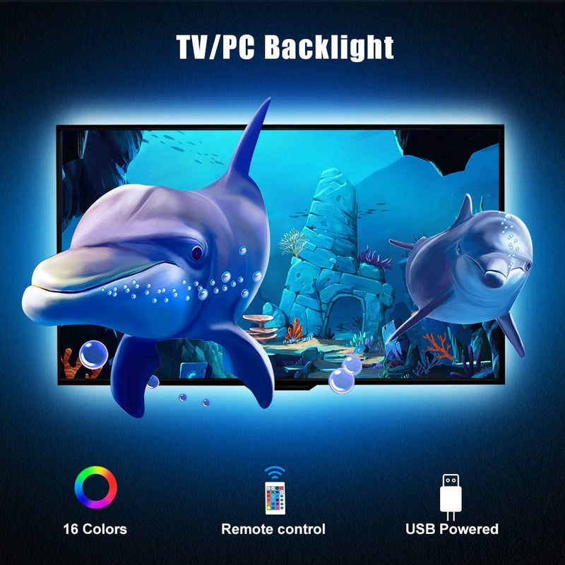 5V 1M/3.3ft LED TV Backlights USB Powered Bias Lighting Kit with RF Remote Controller (16 Colors and 4 Dynamic Modes) for HDTV/PC Monitor/Home Theater