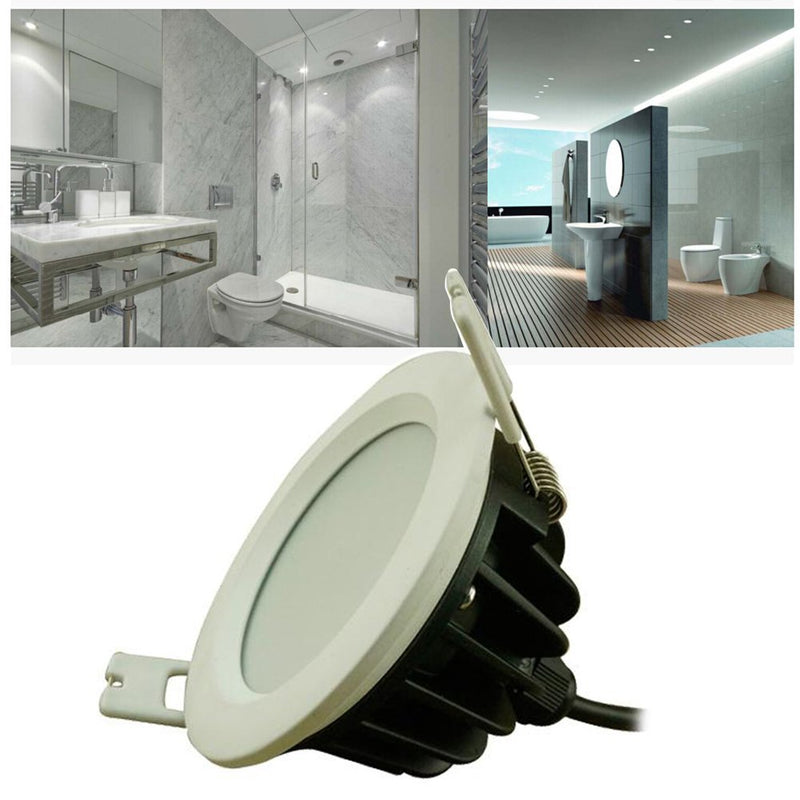 Waterproof IP65 Non-dimmable CRI>80 Round Shape Recessed LED Downlight Fixture Vapor Proof Fit for Shower, Suana and Outdoor Lighting