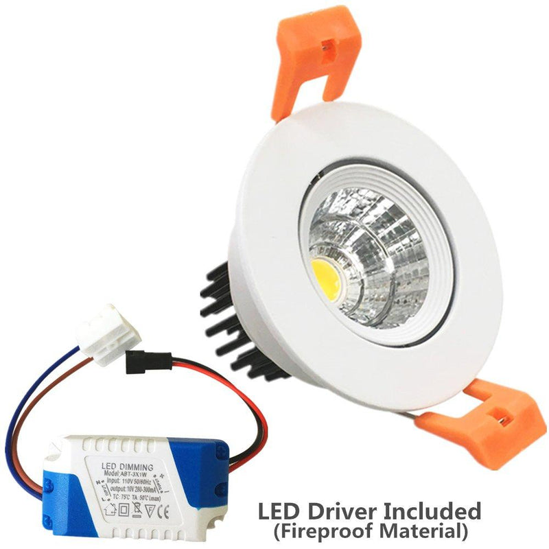 LED Downlight 3W Dimmable CRI80 COB Directional Recessed Ceiling Light Cut-out 2in (51mm) 60 Beam Angle 25W Halogen Bulbs Equivalent