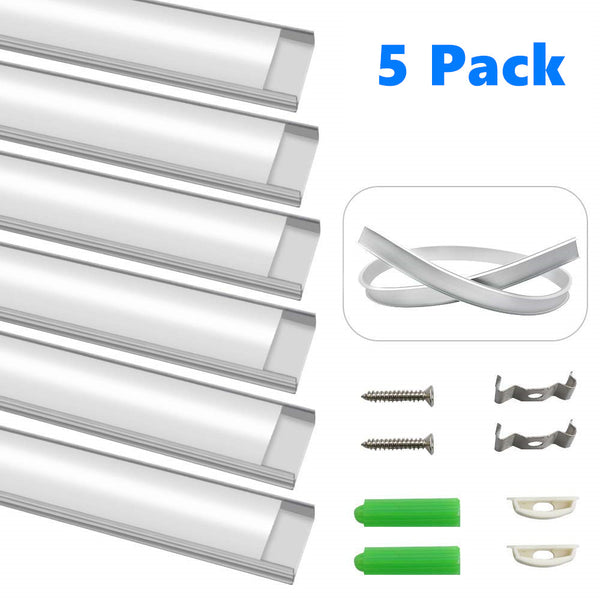 5Pack 1Meter (40'') Ultra-Thin Silver Bendable Aluminum Channel System for LED Strip Installations