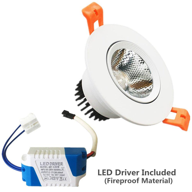 5W Dimmable COB LED Downlight Light Cut-out 2.5in (65mm) 60 Beam Angle 50W Halogen Bulbs Equivalent