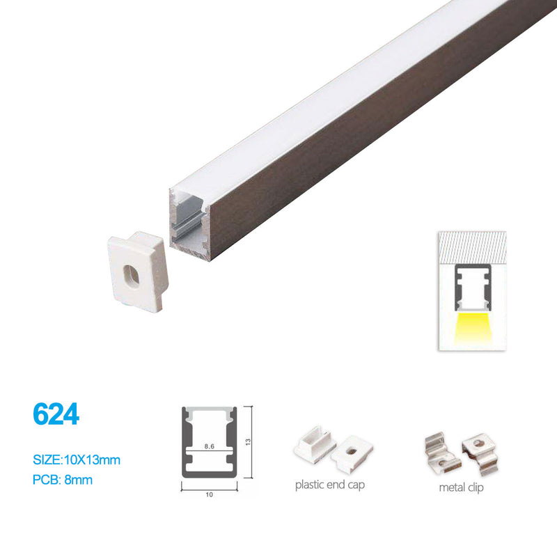 5/10/25/50 Pack 10MM*13MM Mini Square trimless Surface Mounting Aluminum Profile with Flat Cover ,End Caps and Mounting Clips Included