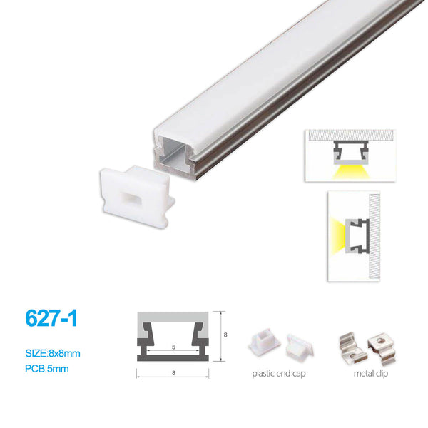 5/10/25/50 Pack 8MM*8MM LED Aluminum Profile with Flat Milky White Cover Surface Mounting for LED Rigid Strip Lighting System