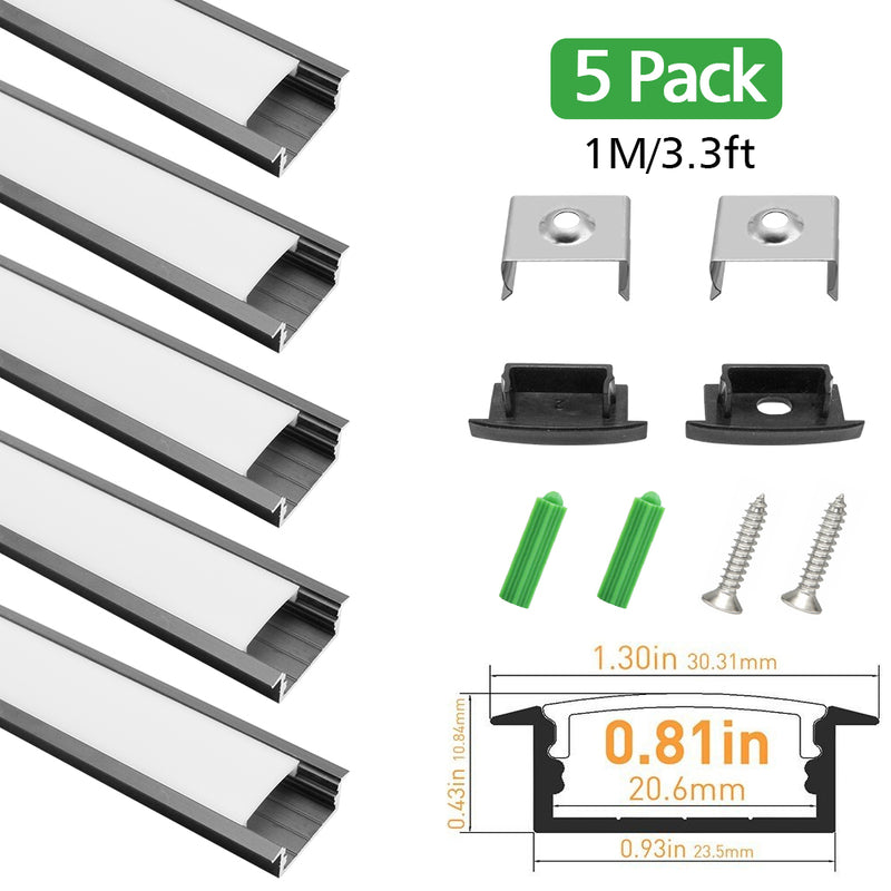 Black LED Profile U03 10x30mm U-Shape LED Aluminum Channel Kit