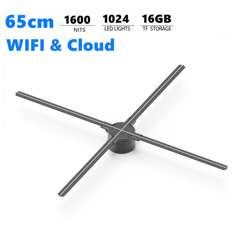 Free Shipping 65cm 3D Hologram LED Fan 4 Blades 1024 Resolution WiFi App Cloud Control LED Fan