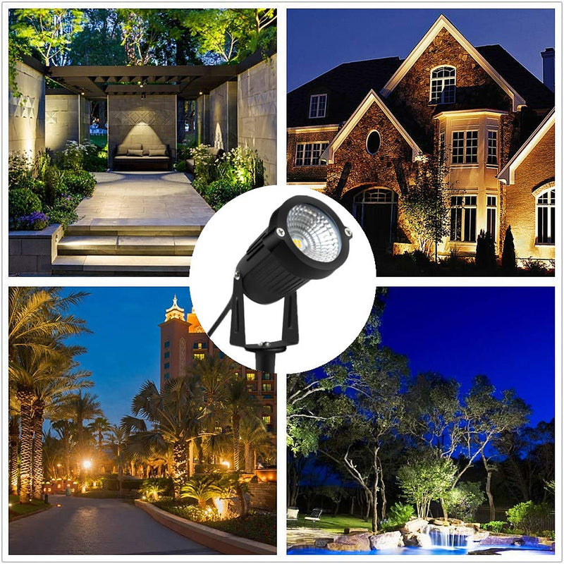 2 Pack 8W Warm White LED Landscape Lights 12V Waterproof Garden Pathway Lights Outdoor