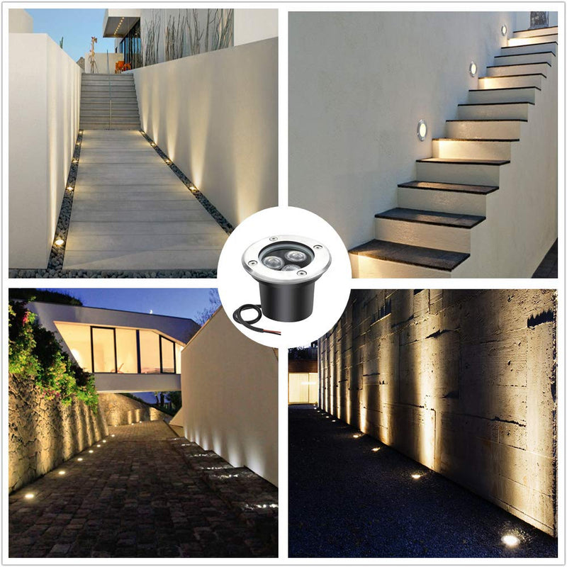 4 Pack 3W Outdoor Landscape Lights 12V Warm White 300 Lumens Waterproof IP67 Garden Lights