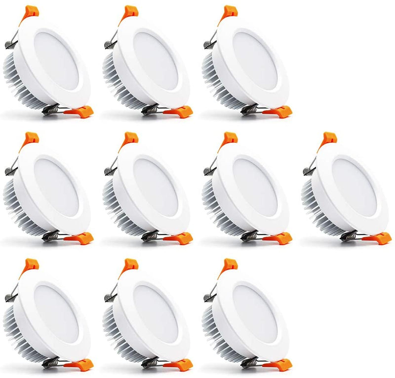 10 Pack 7W 500LM Dimmable Antifog LED Downlight CRI80 Flat Diffuser Ceiling Light -3-3/8'' Cutout