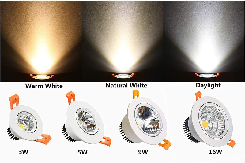 9W Dimmable LED Downlight CRI80 COB Ceiling Light Cut-out 3.35in (85mm) 80W Halogen Bulbs Equivalent