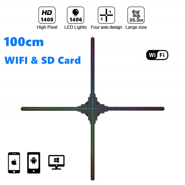 Free Shipping 100cm 3D Hologram LED Fan 4 Blades 1408 HD Resolution WiFi App Control Display