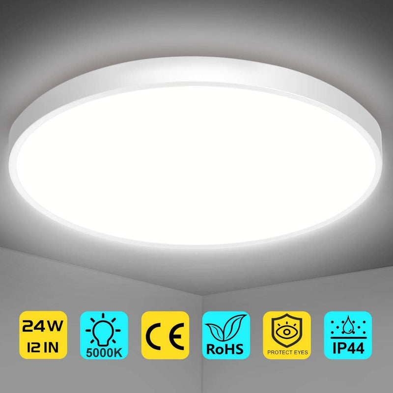 (FREE PRODUCT QTY.:10)12 Inch 24W LED Flush Mount Ceiling Light Fixture,5000K Daylight White,3200LM