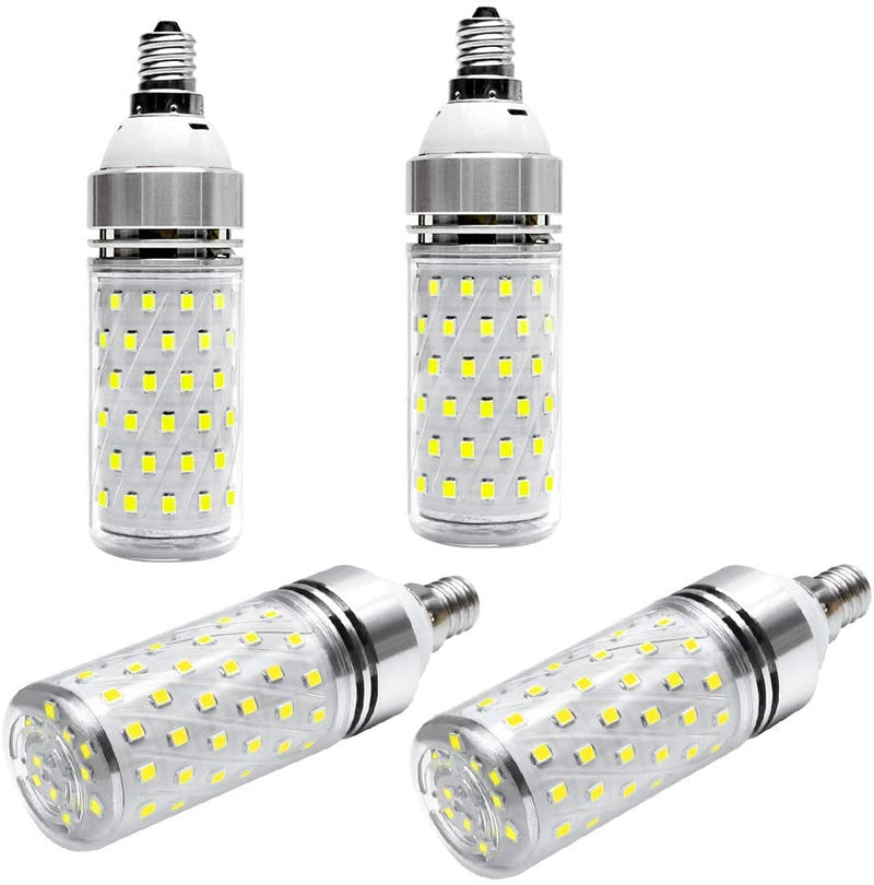 (FREE PRODUCT QTY.: 10) E12 LED Corn Bulbs1500LM, Daylight White 6000K LED Bulbs (4 Pack)