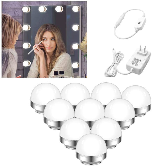 (FREE PRODUCT QTY.: 10)LED Vanity Mirror Lightswith 10 Dimmable Light Bulbs (Mirror Not Include)