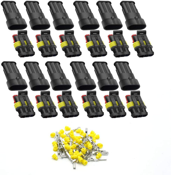 (FREE PRODUCT QTY.: 10)3 Pin Way Car Waterproof Electrical Connector(12 Pack)