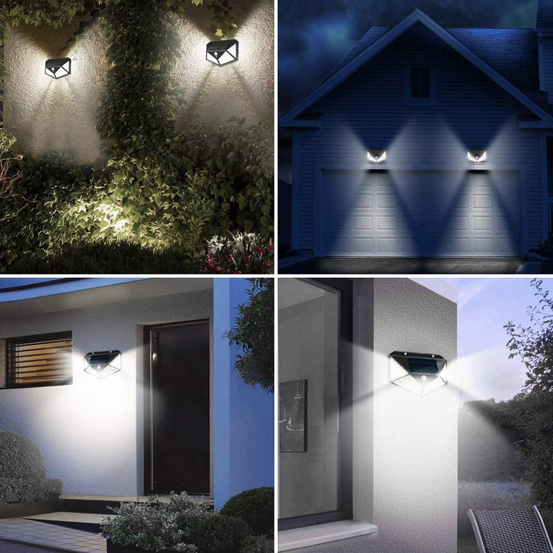 (FREE PRODUCT QTY.: 20)100 LED Solar Wall Light with 270° Wide Angle, IP65 Waterproof (2 Pack)